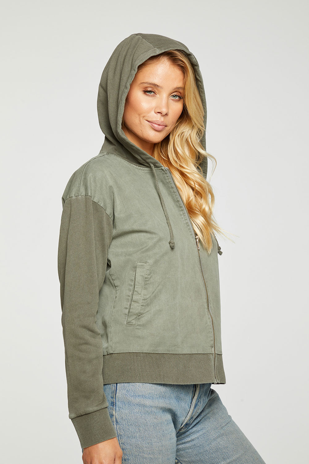Stretch Twill Mixed Terry Long Sleeve Hooded Jacket With Rib WOMENS - chaserbrand