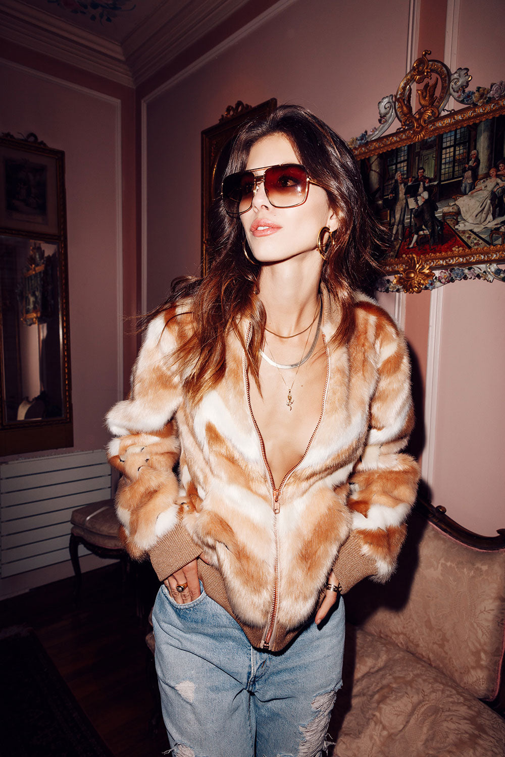 Faux Fur Calico Bomber Jacket, WOMENS, chaserbrand.com,chaser clothing,chaser apparel,chaser los angeles