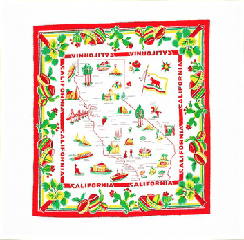 Red California Map Tablecloth