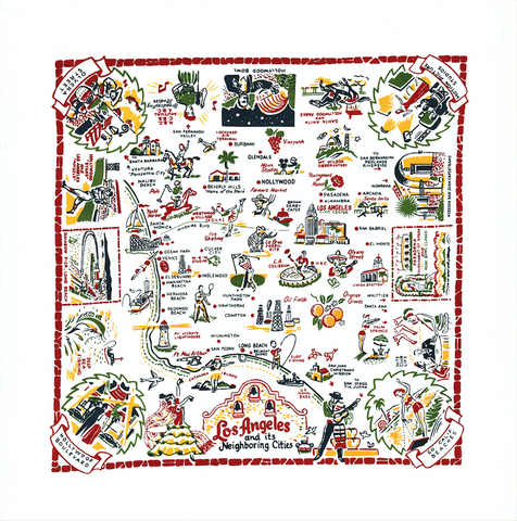 Los Angeles Map Kitchen Towel