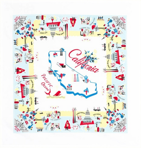Blue California Map Tablecloth