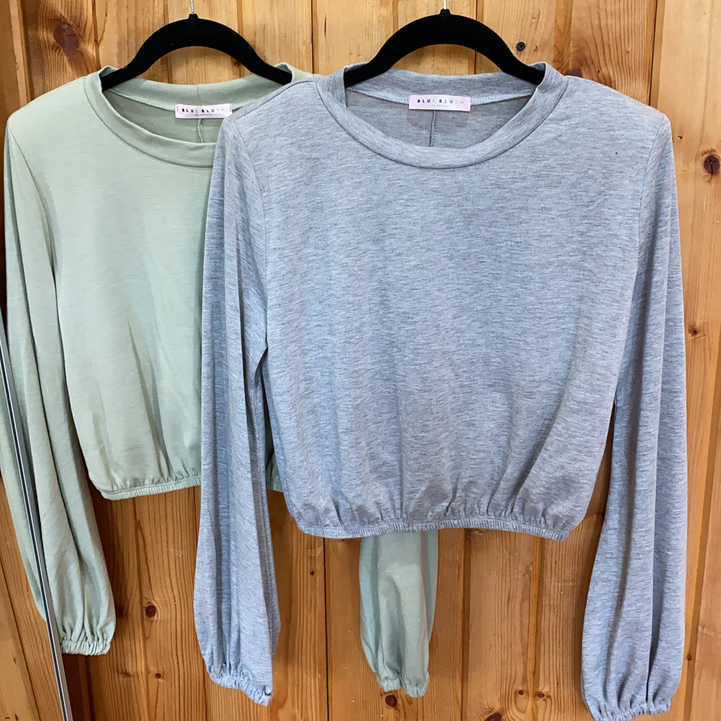 SWING CROP SWEATSHIRT: GRAY