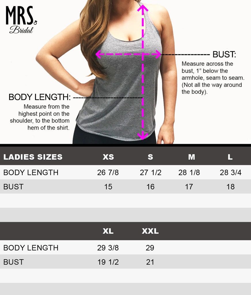 Heather Gray Tank Top Size Chart