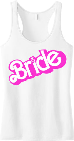 BRIDE Doll House Tank Top, White with Pink Print