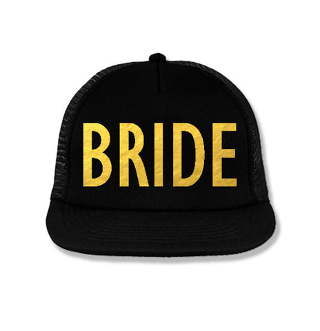 BRIDE Snapback Trucker Hat Black with Gold Foil Print