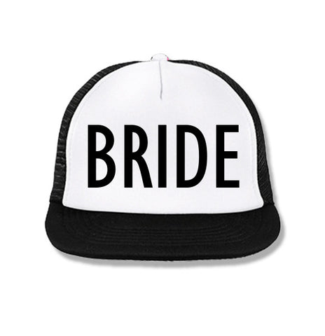 BRIDE Snapback Trucker Hat White with Black Print