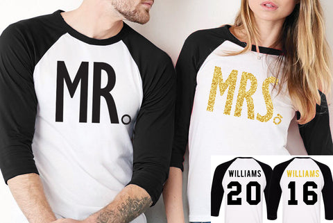 MR + MRS GOLD Baseball Tees CUSTOM NAMES + NUMBERS - Pick Color