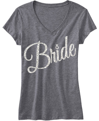 Bride Shirt with Cursive Glitter Print