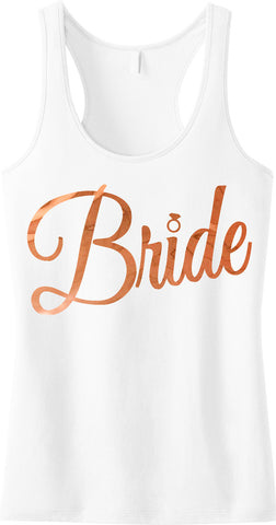 Bride Cursive Tank Top, Rose Gold Foil Print
