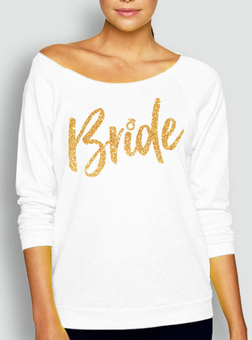 BRIDE Slouchy White Sweatshirt with Gold Print