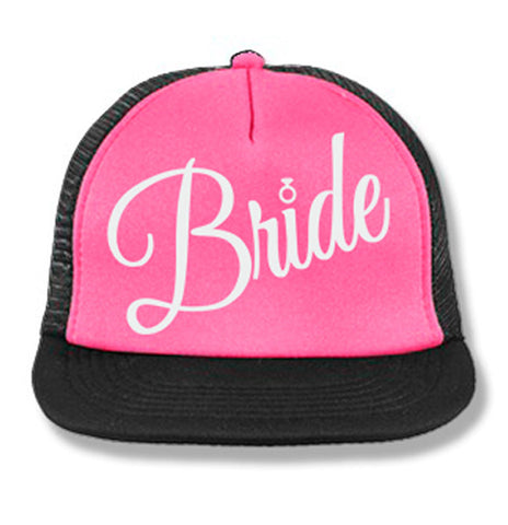 BRIDE Cursive Snapback Trucker Hat Pink with White