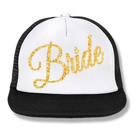 BRIDE Cursive Snapback Trucker Hat White with Gold Print