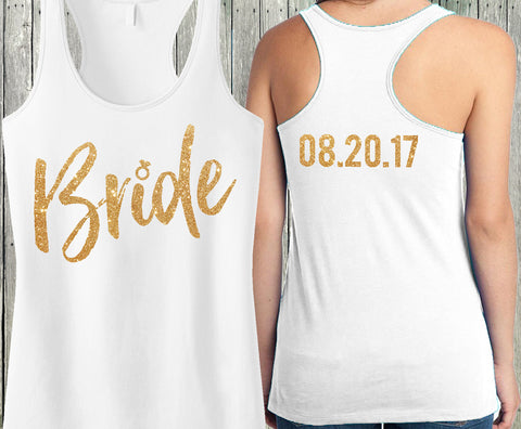 Bride Gold Script Tank Top with Custom Text on Back