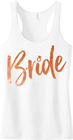 Bride Script Tank Top, Rose Gold Foil Print