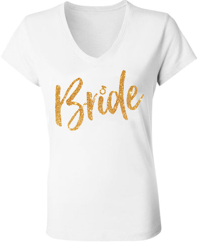 Bride Gold Glitter Script White V-Neck
