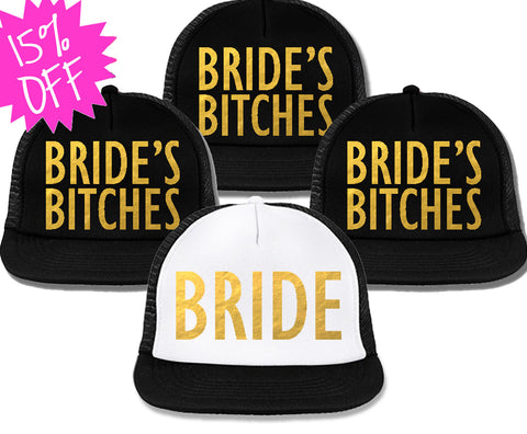 Bachelorette Party Hats Deal - BRIDE White & BRIDE'S BITCHES Black with Gold Foil Print
