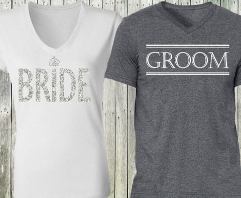 BRIDE Silver Glitter White Shirt + GROOM Gray Shirt
