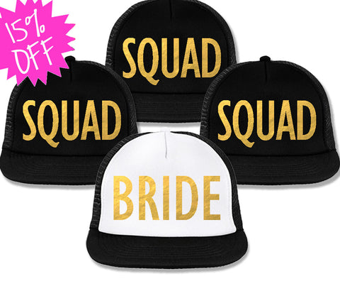 Bachelorette Party Hats Deal - BRIDE White & SQUAD Black with Gold Foil Print