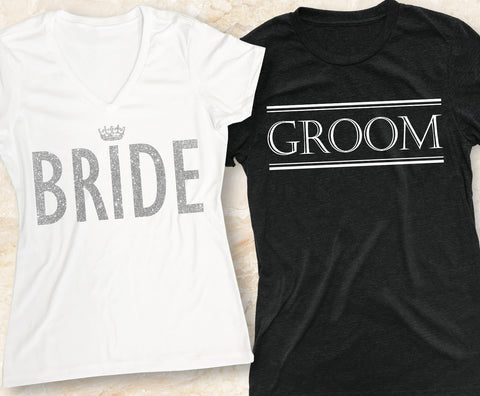 BRIDE & GROOM SHIRTS Set Pick Color