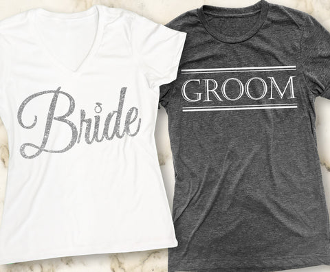 BRIDE & GROOM SHIRTS Cursive Set Pick Color