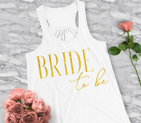 Bride to Be VOGUE Tank Top with Gold Foil Print