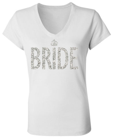 Bride White V-neck with Silver Glitter Print