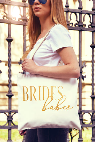 Bride's Babes Chic Gold Foil Tote Bag - Pick Color