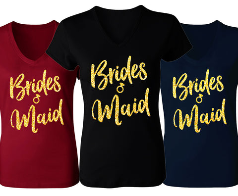 Bridesmaid Script V-Neck with Gold Glitter - Pick Color