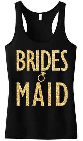 Bridesmaid Tank Top with Gold Glitter