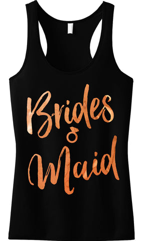 Bridesmaid Rose Gold Foil Tank Top, Black