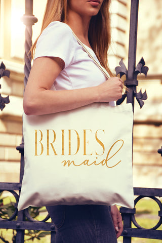 Bridesmaid Chic Gold Foil Tote Bag - Pick Color