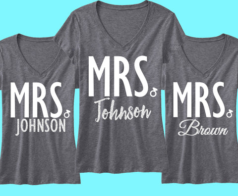 CUSTOM MRS. Silver Glitter Shirt - Add your name