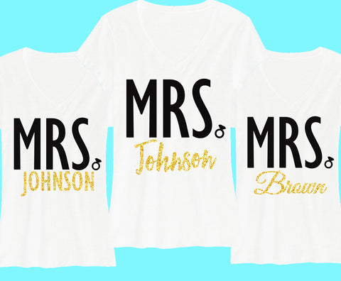 CUSTOM MRS. Gold Glitter Shirt - Add your name