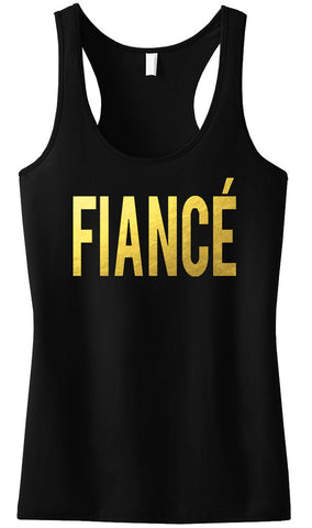 FIANCE Gold Foil Tank Top Black