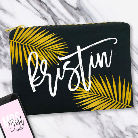 Gold Palms Makeup Bag with Custom Name