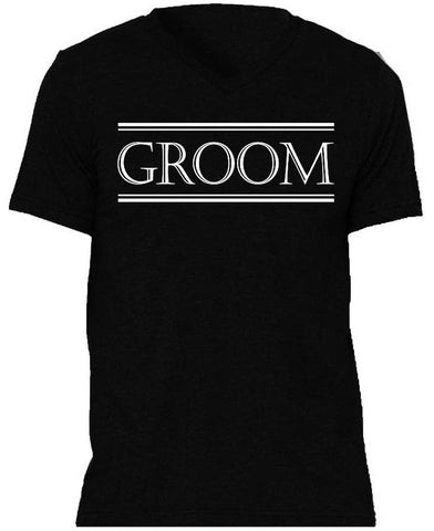 Groom Shirt Black with White Print