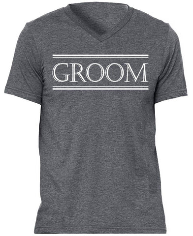 Groom Shirt Gray with White Print