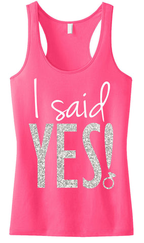 I SAID YES! Silver Glitter Tank Top