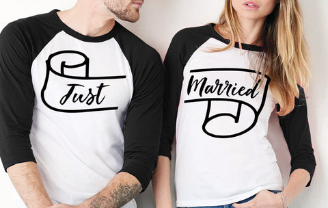 Just Married Couples Baseball Tee Set