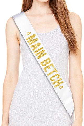 MAIN BETCH Bride Bachelorette Party Sash - Gold Glitter Print