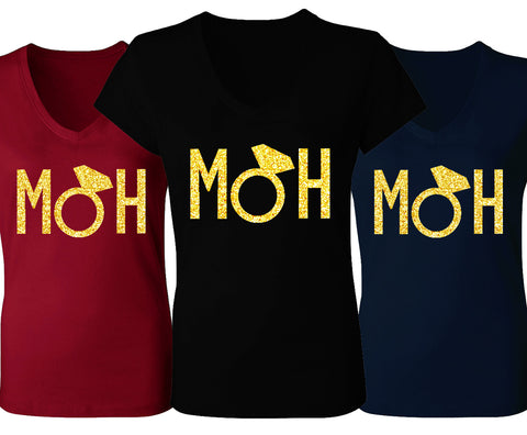 MOH Block Letters V-Neck with Gold Glitter - Pick Color