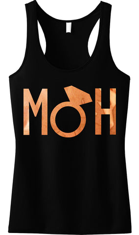 MOH Block Rose Gold Foil Tank Top, Black