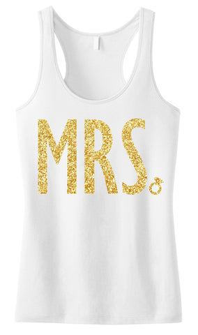 MRS. Tank Top with Gold Glitter