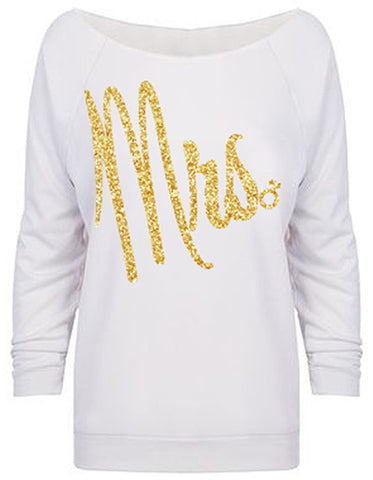 MRS. Gold Glitter Off-Shoulder Sweater