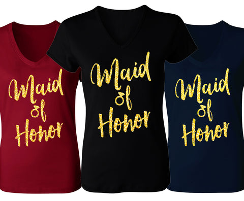 Maid of Honor Script V-Neck with Gold Glitter - Pick Color