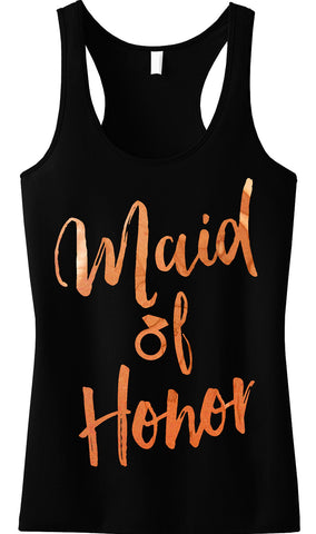 Maid of Honor Rose Gold Foil Tank Top, Black