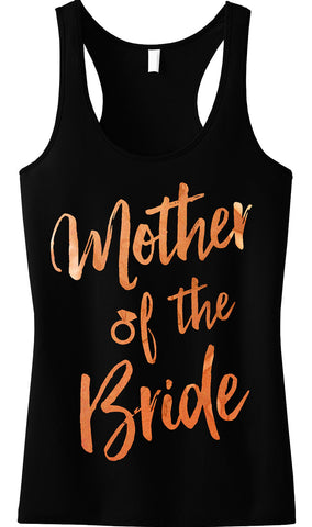 Mother of the Bride Rose Gold Foil Tank Top, Black