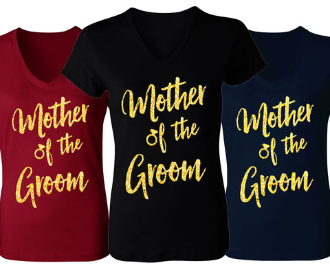 Mother of the Groom Script V-Neck with Gold Glitter - Pick Color