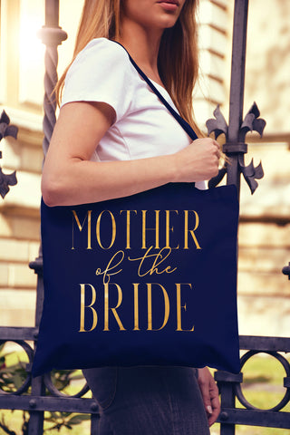 Mother of the Bride Chic Gold Foil Tote Bag - Pick Color