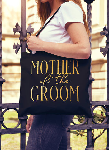 Mother of the Groom Chic Gold Foil Tote Bag - Pick Color
